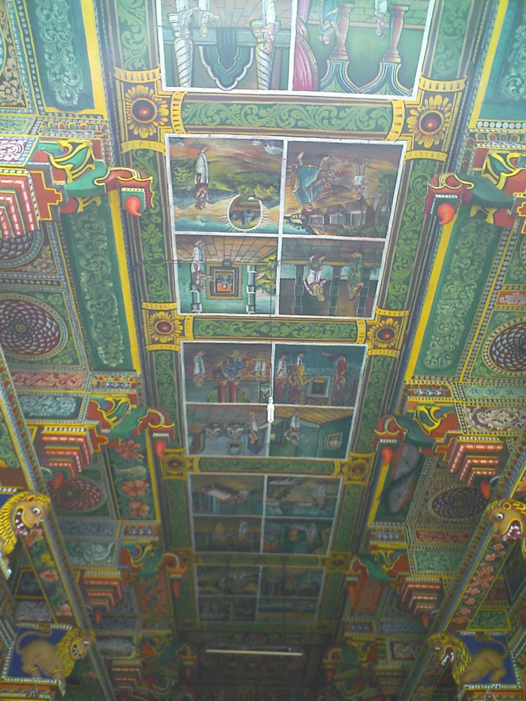 Paintings on the ceiling in Perur Patteeswarar Temple Coimbatore