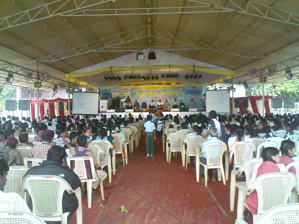 Photo of the stage and audience in traffic awareness exhibition in coimbatore