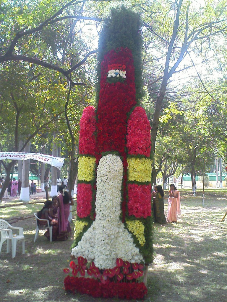 flower arrangement in the shape of rocket at kovai flower show 2011 held at tnau botanical gardens