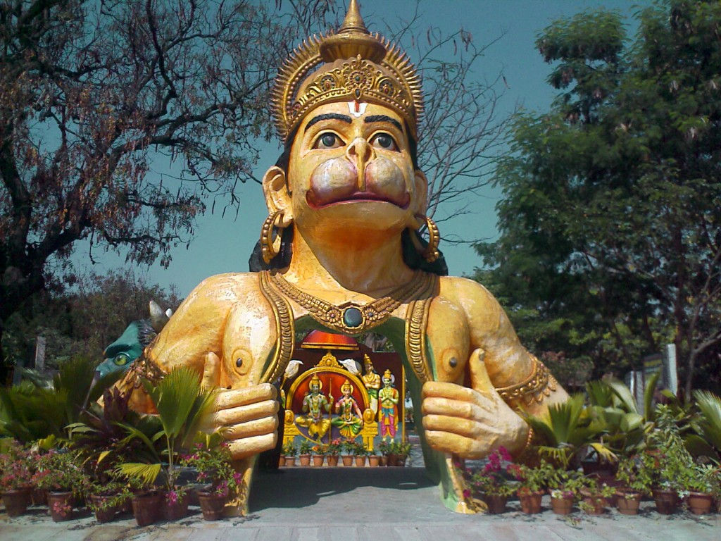 Ramayan theme park entrance hanuman opening his chest