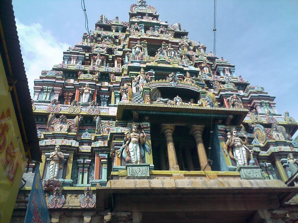 smaller temple gopuram on the way to trichy srirangam temple