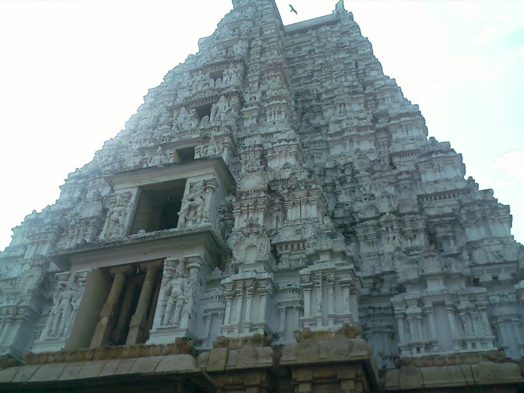back side white gopuram in trichy srirangam ranganathaswami temple
