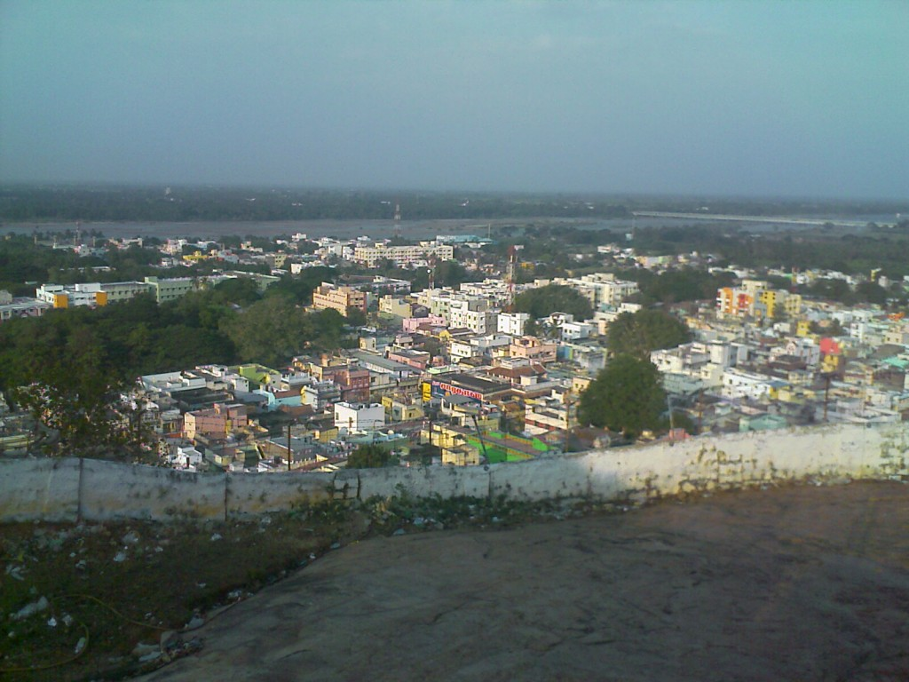 view of trichy city and kaveri river from the top of rock fort