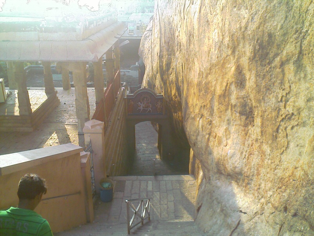 stairs along the rock in rock fort temple