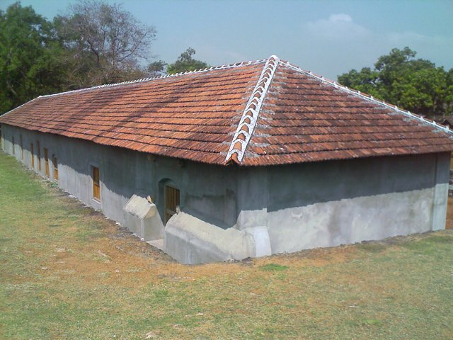 An government office functioning inside palakkad fort with thatched tiled roof