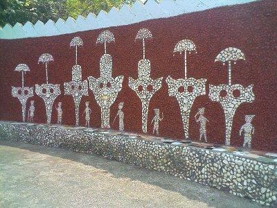 rock gardens palakkad - modern art - paintings of elephants with umbrellas