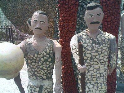 rock gardens palakkad two soldiers statue - modern art
