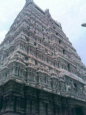 Indian big temple with high gopuram in Tiruvannamalai South India