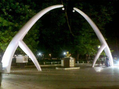 Anna Statue below giant elephant tusks in Anna Square Chennai